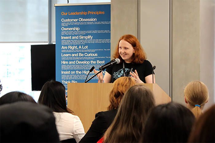 A speaker presents at an Amazon Women in Engineering event in Vancouver