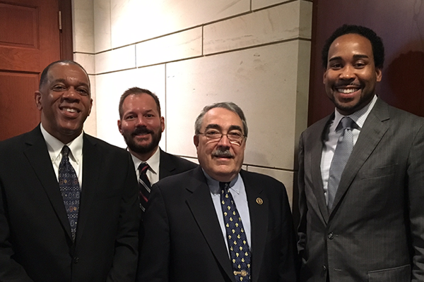 Photo of Author Barry Davis, Amazon VP Brian Huseman, Congressman G.K. Butterfield, and Executive Director David Johns, taken at a book reading and discussion we hosted in Washington DC for Black History Month.