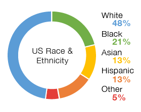 Chart: US Race and Ethnicity Overall | White 48%, Black 21%, Hispanic 13%, Asian 13%, Other 5%