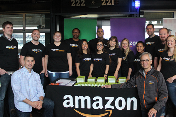 Group photo of Amazon Warriors affinity group members from a recent event.