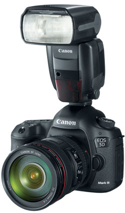 Canon Speedlite 600EX on body at Amazon.com