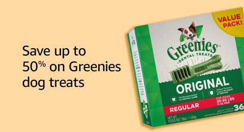 Save up to 50% on Greenies dog treats