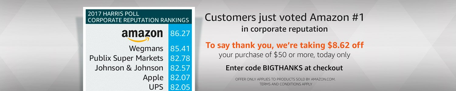 Customers voted Amazon #1 | To say thank you, enter code BIGTHANKS at checkout