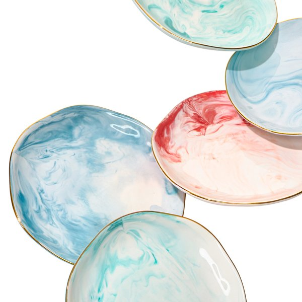 Ceramic Marbled Salad Plates