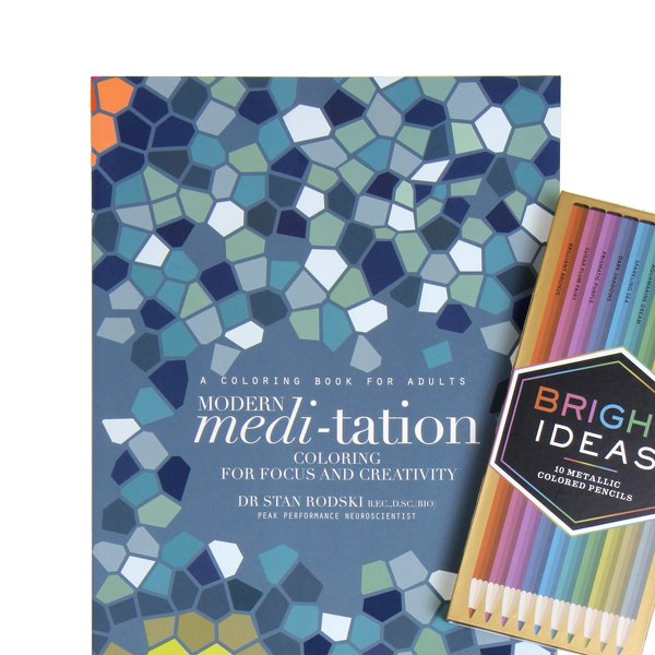 Modern Meditation: Coloring Book & Colored Pencils