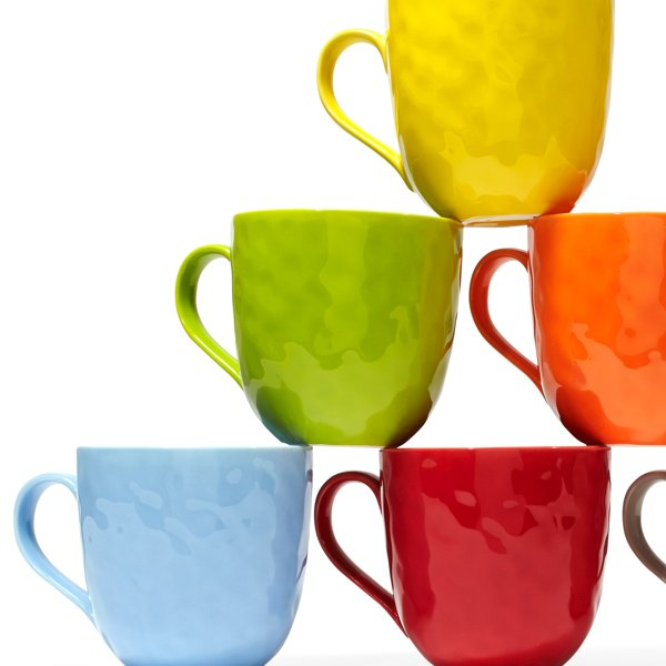 Colorful bone china mugs