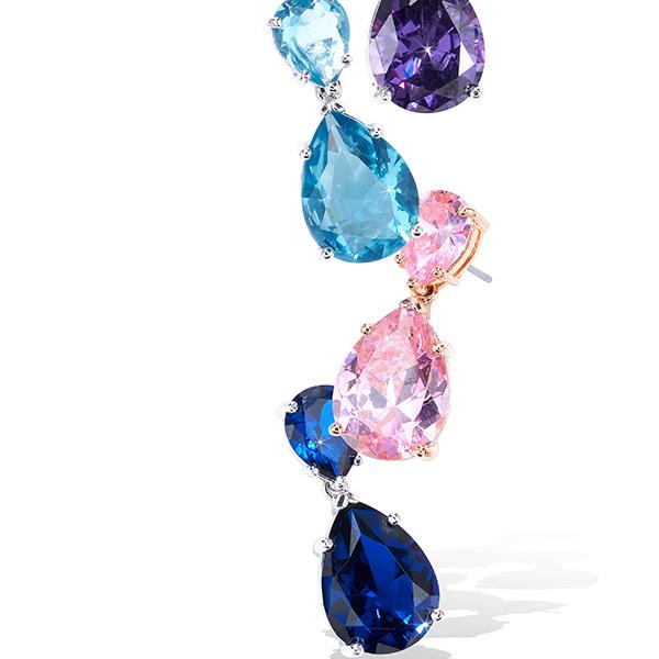 CZ Double Pear Drop Earrings