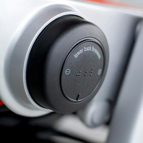 Closeup of knob for adjusting lower back firmness