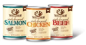group shot of 3 canned dog food flavors