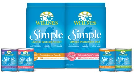 Group images of Wellness Simple bagged and canned food
