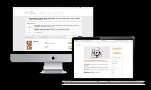 Kindle Direct Publishing website image on a desktop and tablet