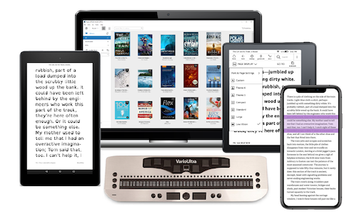 Composite image of Kindle devices and a braille reader