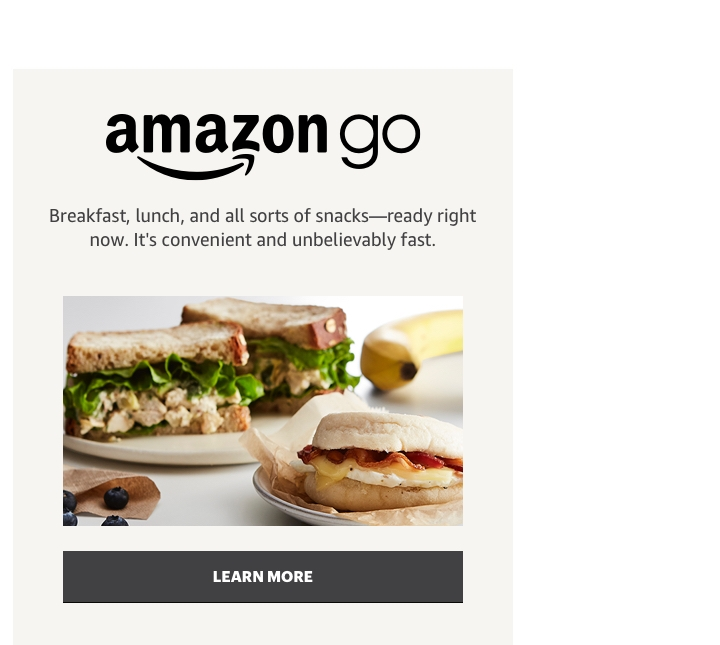 Amazon Go breakfast lunch snacks