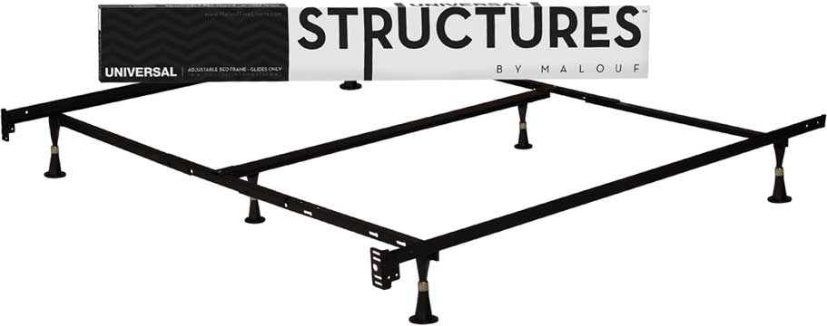 structures by malouf heavy duty 9 leg adjustable metal bed frame with double center. Black Bedroom Furniture Sets. Home Design Ideas