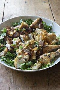 Roast Chicken with Bread & Arugula Salad