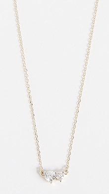 EF Collection 14K Full Cut Diamond Heart Necklace uHkUVyUW