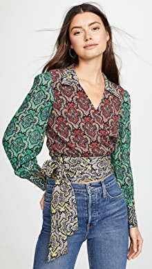 945f679cb62e9 alice + olivia Alba Cross Front Blouse