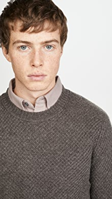 클럽 모나코 Club Monaco Cashmere Stitch Crew Sweater,Brown