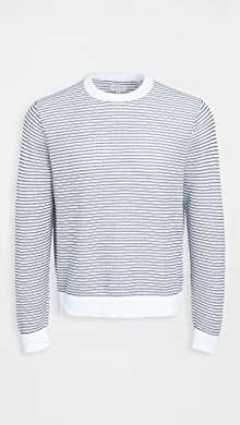 클럽 모나코 Club Monaco Summer Mesh Crew Sweater,Navy/White Stripe