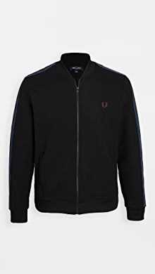 Fred Perry Taped Bomber Neck Track Jacket,Black