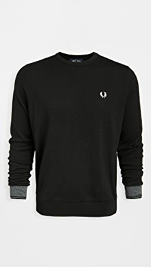 Fred Perry Contrast Cuff Crew Neck Sweater,Black