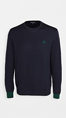 Fred Perry Contrast Cuff Crew Neck Sweater,Navy