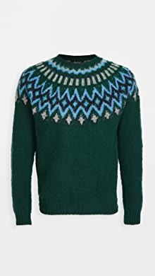 하울링 Howlin Future Fantasy Wool Fair Isle Sweater,Forest