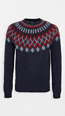 하울링 Howlin Future Fantasy Wool Fair Isle Sweater,Night Dub