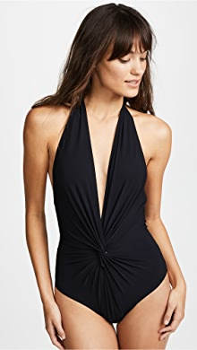 8b6cf6eaef Karla Colletto. Low Back Plunge One Piece Swimsuit