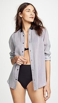 Kiki De Montparnasse. Cotton Stripe Boyfriend Pajama Shirt db36fcf7e