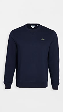 라코스테 Lacoste Long Sleeve Logo Sweatshirt,Navy Blue/Navy Blue