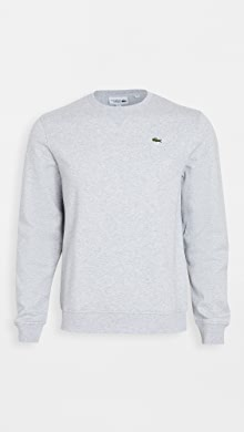 라코스테 Lacoste Long Sleeve Logo Sweatshirt,Silver Chine/Elephant Grey