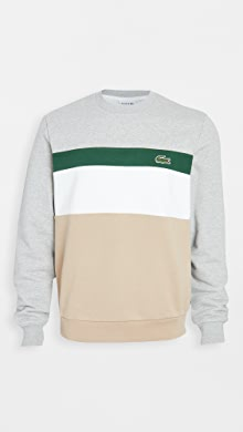 라코스테 Lacoste Long Sleeve Colorblock Sweatshirt,Beige/White/Green