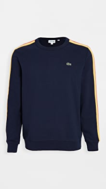 라코스테 Lacoste Long Sleeve Logo Sweatshirt,Navy Blue/Wasp Gladiolus