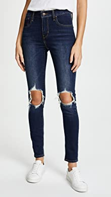 Skinny Jeans with Knee Rips and Distrssed Hem - Grey Parisian sQipY