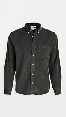 메이드웰 Madewell Corduroy Perfect Button Down Shirt,Black Coal