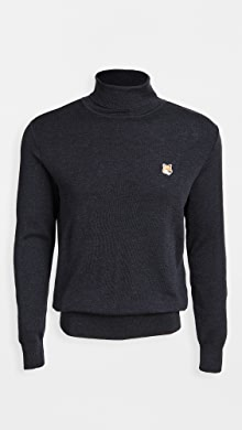 메종 키츠네 Maison Kitsune Merino Turtleneck with Fox Patch,Indigo