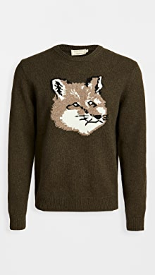 메종 키츠네 Maison Kitsune Wool Fox Head Crew Neck Sweater,Light Khaki