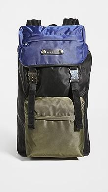 마르니 Marni Hackney Backpack,Black/Ultramarine/Forest Green