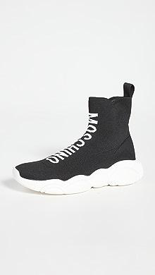 모스키노 Moschino High Top Logo Sock Sneakers,Black