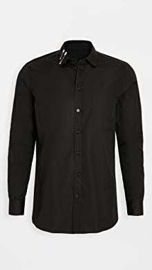 모스키노 Moschino Safety Pin Collar Button Down Shirt,Black