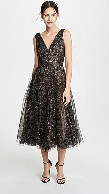 dd9bb43e Marchesa Notte. Glitter Tulle Tea Length Gown