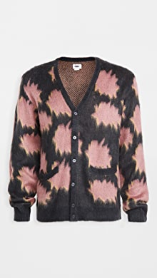 Obey Pattern + Brushed Face Sweater Cardigan,Navy Multi