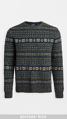 폴로 랄프로렌 Polo Ralph Lauren Wool Fair Isle Crew Neck Sweater,Collegiate Grey