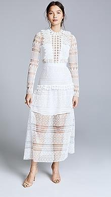 21a822a980c Self Portrait. Spiral Lace Paneled Midi Dress