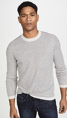 띠어리 Theory Long Sleeve Merino Wool Stripe Sweater,Feldspar/Eclipse