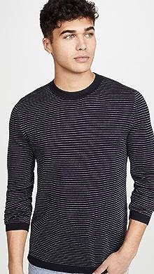띠어리 Theory Long Sleeve Merino Wool Stripe Sweater,Eclipse/White