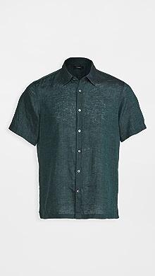 띠어리 Theory Irving Summer Linen Short Sleeve Shirt,Canopy