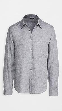 띠어리 Theory Irving Summer Linen Long Sleeve Shirt,Smoke