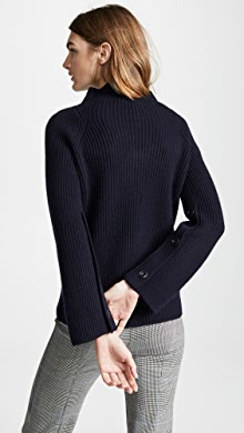 56a3604cc8bb6 Vince Rib Sleeveless Turtleneck Sweater